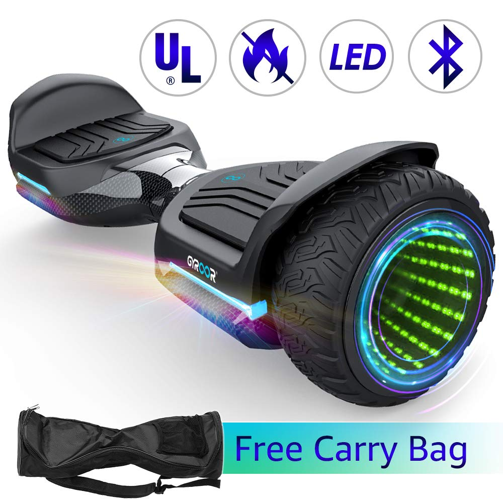 Gyroshoes Hoverboard Off Road All Terrain Self Balancing Scooter 6.5'' T581 Flash Two-Wheel Self Balancing Hoverboard with Bluetooth Speaker and LED Lights for Kids and Adults Gift UL 2272 Certified