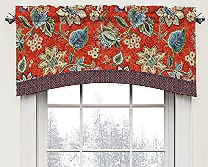 Waverly 15396052018GEM Brighton Blossom 52 Inch By 18 Inch Arched Window  Valance, Gem