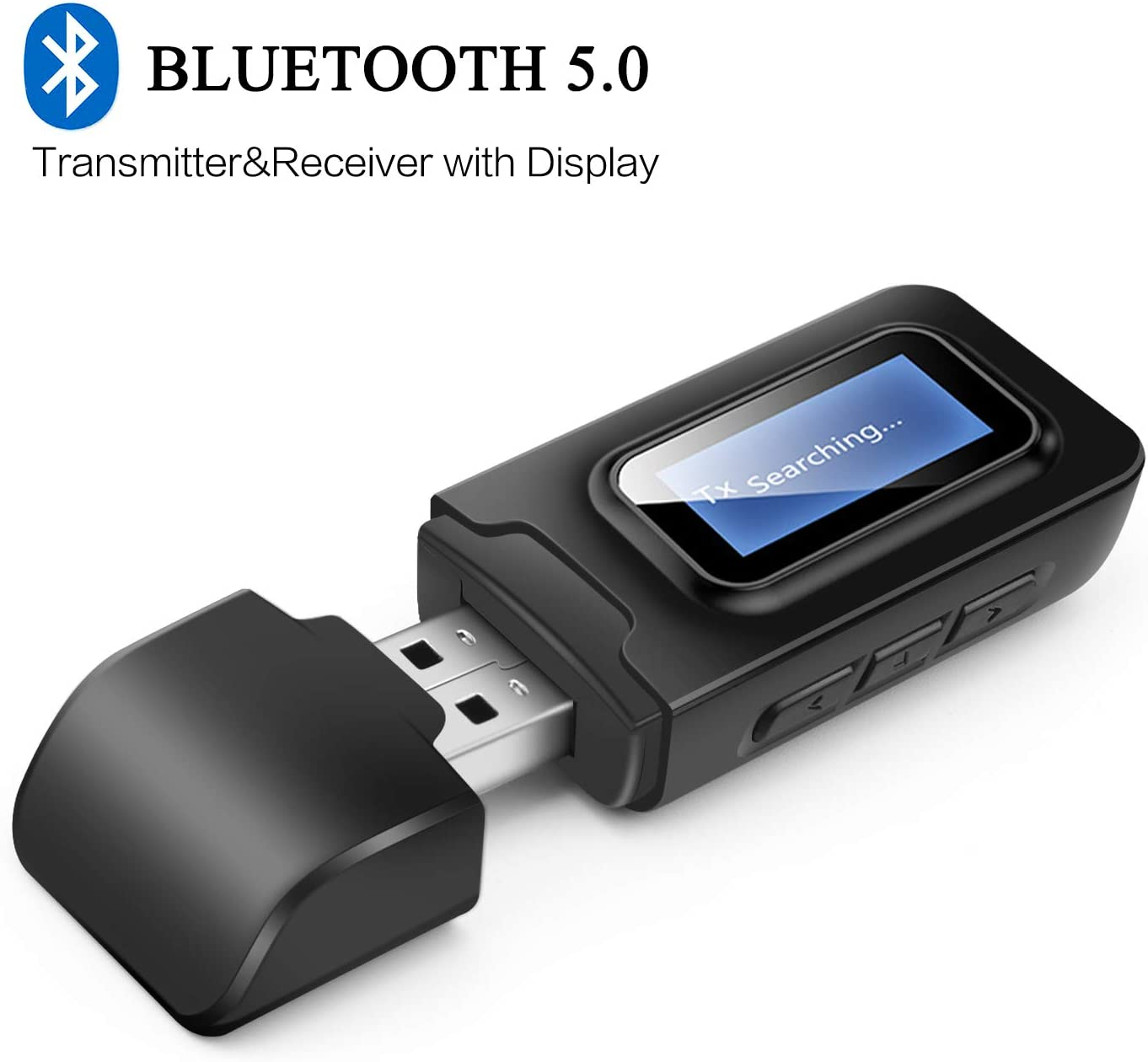 USB Bluetooth 5.0 Audio Transmitter Receiver with LCD Display,Goojodoq 3 in 1 Portable Visualization Bluetooth Adapter,3.5MM Wireless Bluetooth Adapter for PC,TV,Wired Speaker,Headphones and Car