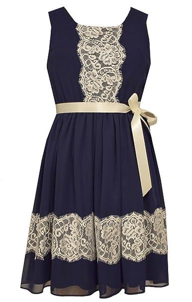f7ffd1a93cf Amazon.com: Bonnie Jean Tween Girls Chiffon Navy Lace Trimmed Dress:  Clothing