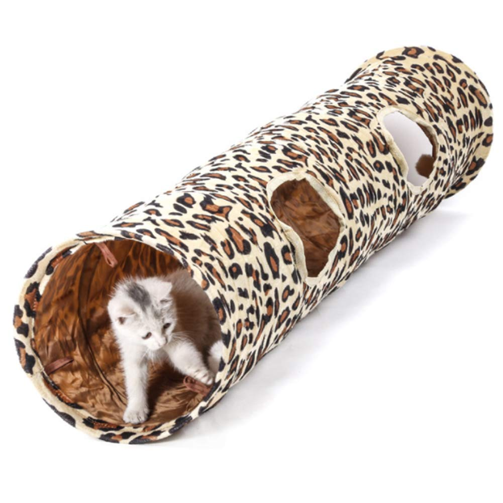 Road Cat Tunnel Collapsible Tunnel Dog Tube,Cat Toys Play Tunnel,Durable Short Plush Hideaway Pet Crinkle Tunnel with Ball for Rabbits, Kittens, and Dogs by PJDDP