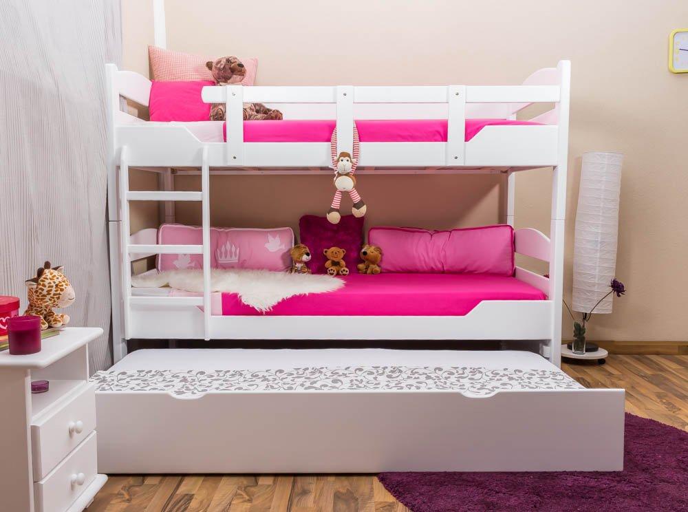 Stockbett mit Bettkasten Easy Sleep K13/h inkl. Liegeplatz und 2 Abdeckblenden, Kopf- und Fußteil gerundet, Buche Vollholz massiv Weiß - Maße: 90 x 200 cm, teilbar