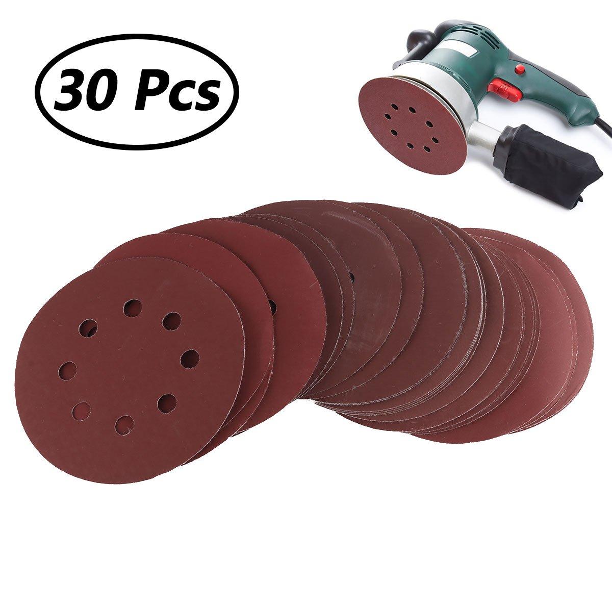 Freebily 30Pcs 125mm/5inch Sanding Discs 8 Holes Sandpaper Assorted 800/1000/1200/1500/2000 Grits Hook and Loop Aluminum Oxide Sandpaper for Random Orbital Sander