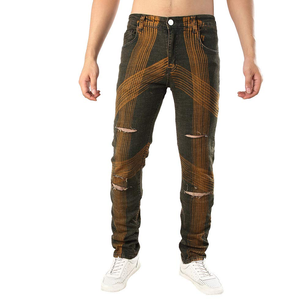 Luckycat Herren Casual Herbst Denim Baumwollgerade zerrissene Loch Hosen Jeans Hosen Mode 2018