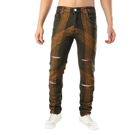 Logobeing Hombre Casual Denim de Otoño Pantalones Vaqueros Rectos con Aberturas de Algodón Pantalones Vaqueros Pantalones