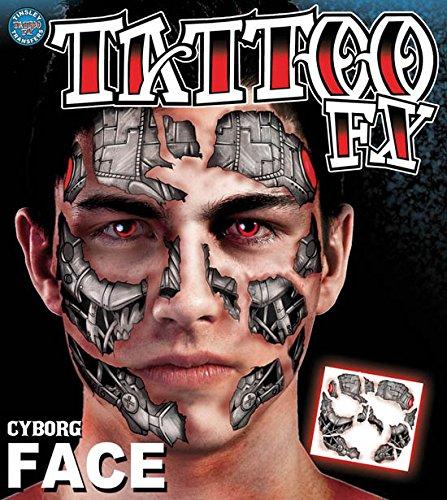 Tinsley Transfers Cyborg Face Temporary Tattoo FX Face Kit (Cyborg Tattoo)