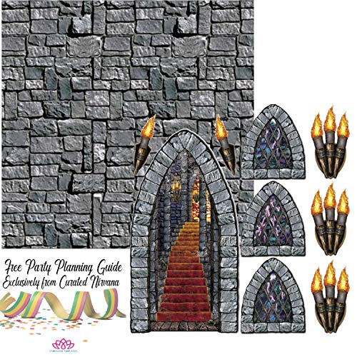 Stone Wall Plastic Backdrop (Stone Wall Backdrop with Stairway, Window & Torch Props Party Accessories Bundle | Create Your Own Medeival)