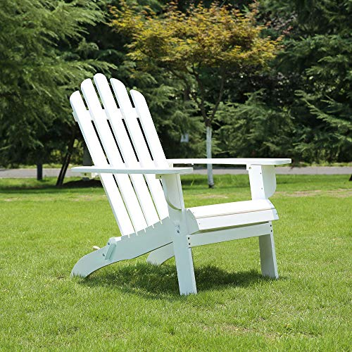 AZBRO Outdoor Wooden Fashion Adirondack Chair/Muskoka Chairs Patio Deck Garden Furniture (White)