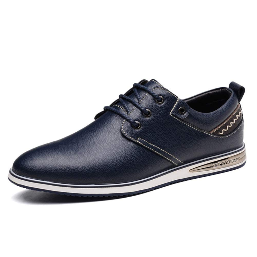 bluee JIALUN-shoes Men's Simple Fashion Oxford Four Seasons Style Simple Laces Comfortable Casual shoes