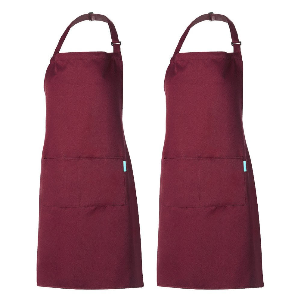 (One Size, 2 Pack Red) - Esonmus 2 Pack Adjustable Bib Apron Waterdrop Resistant with 2 Pockets Cooking Kitchen Aprons for Women Men Chef (2 Pack Red, one size) One Size 2 Pack Red B07BLRVZCW