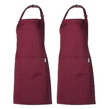 Come Confezionare Un Grembiule Da Cucina.Esonmus Grembiule Regolabile Da 2 Pezzi Con 2 Tasche Grembiuli Da Cucina Per Cuoco Per Uomo E Donna Bordeaux