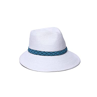 5934e78e273 Physician Endorsed Women's Regent Asymmetrical Beaded Trim Sun Hat, Rated UPF  50+ for Max Sun Protection, White/Turquoise, Adjustable Head Size at Amazon  ...