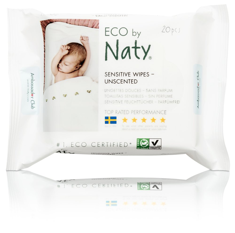 Amazon.com: ECO by Naty Baby Travel Wipes, Unscented, 12 packs of 20 (240 Count): Health & Personal Care