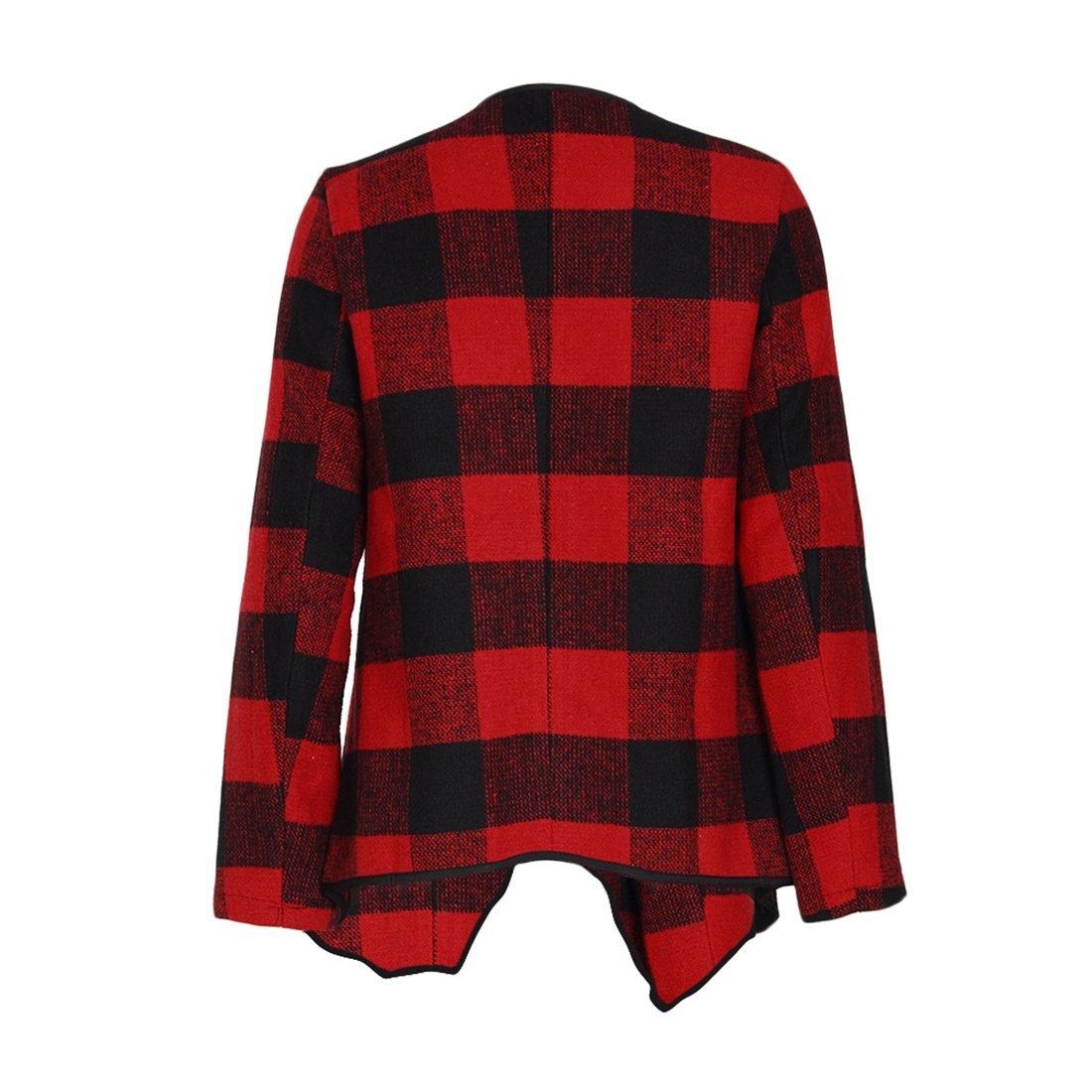 Shinekoo Women Cardigan Jacket Checked Plaid Open Front Coat Outwear by Shinekoo (Image #5)