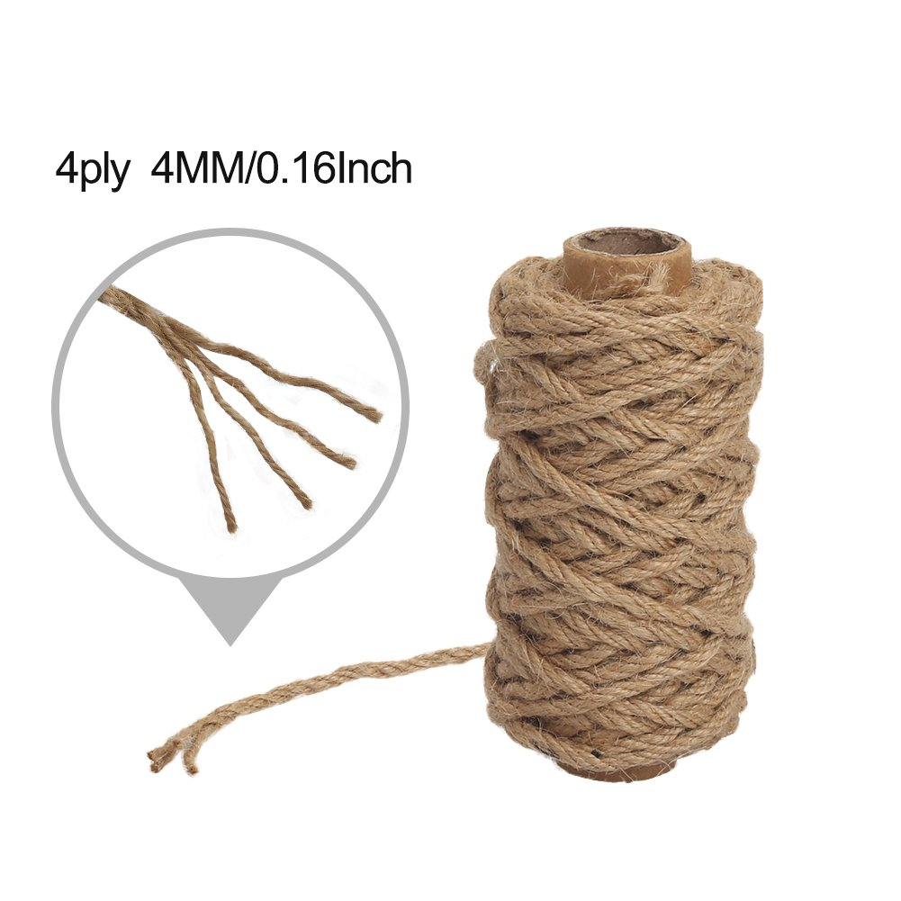 Brown Camping Tenn Well 8mm Jute Rope Bundling 50 Feet Strong and Heavy Duty Natural Jute Twine for Gardening Decorating