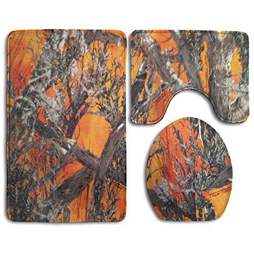 KAHmn Realtree Camo Orange 3-Piece Soft Bath Rug Set Includes Bathroom Mat Contour Rug Lid Toilet Cover Home Decorative Doormat (Orange Camo Fabric)