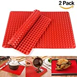 Wolecok Baking Mats Non-Stick Silicone Pyramid Pan Oven Tray Baking Sheet Pastry Cooking Mat BBQ Girll Mat 2 Pack 16'' x 11.5''