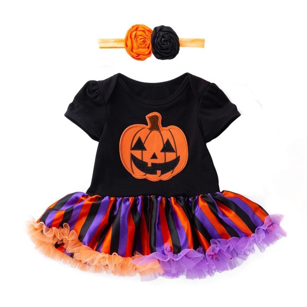 kaiCran Clothing Baby Girl Newborn Short Sleeve Halloween Pumpkin Bow Party Dress Clothes Dresses Size 3-18 Months