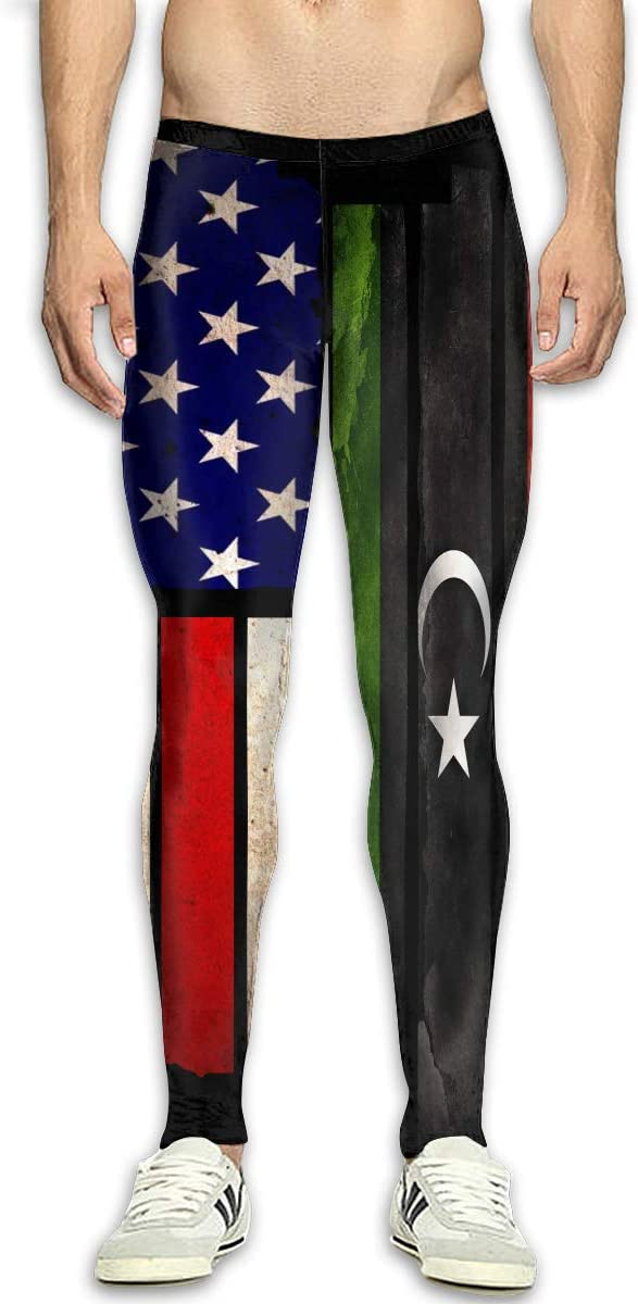 OIIH08-0 Vintage USA Libya Flag Mens Compression Tights Baselayer Cool Dry Yoga Pants for Men