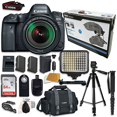 Canon EOS 6D Mark II Digital SLR Camera Bundle with EF 24-105mm f/3.5-5.6 IS STM Lens + Accessory Bundle (14 items)