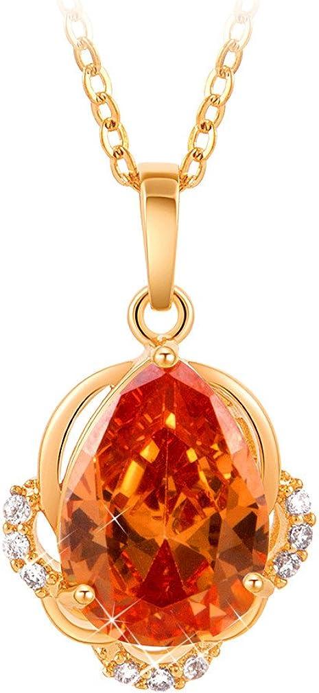 YAZILIND Joyería del Oro 18K plateó la Gota del Agua Anaranjada de la Piedra Preciosa Zirconia Diamante Colgante de Collar de la aleación