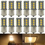 12-Pack 1156 BA15S 7506 1141 1003 1073 Soft Warm White 3000k LED Light 12V-DC, AMAZENAR 5050 18 SMD Car Replacement For Interior RV lighting Camper Turn Signal Light Lamps Tail BackUp Bulbs