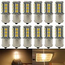 12-Pack 1156 BA15S 7506 1141 1003 1073 Soft Warm White 3000k LED Light 12V-DC, AMAZENAR 5050 18 SMD Car Replacement For Interior RV lighting Camper Turn Signal Light Lamps Tail BackUp Bulbs