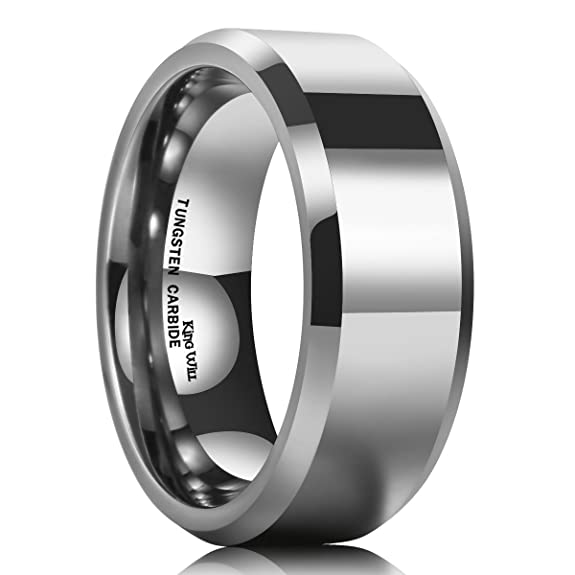 King Will BASIC Men\'s 8mm Tungsten Carbide Ring Polished Plain ...