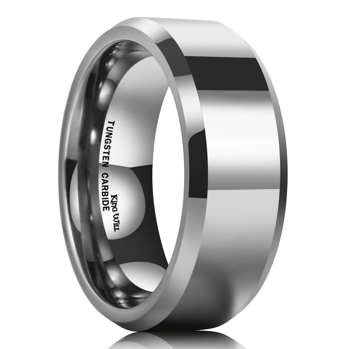 King Will Basic Men's 8mm Tungsten Carbide Ring Polished Plain Comfort Fit Wedding Engagement Band 10