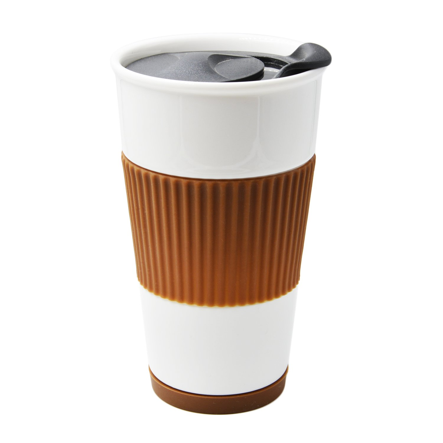 UDMG Double Wall Insulated Travel Coffee Ceramic Cup with Slider Lid, Silicone Sleeve & Built-In Coaster, 10 fl.oz (Coffee)