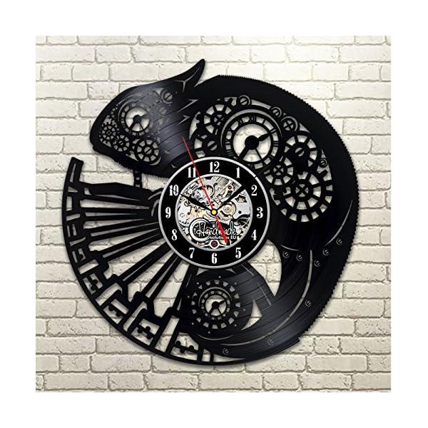 Handmade Solutions EU Steampunk Chameleon Vinyl Wall Clock Ornament Gifts for Her Women Bedroom Accessories Room Decor Vintage Animal Art Artwork Decoration Birthday Presents 5