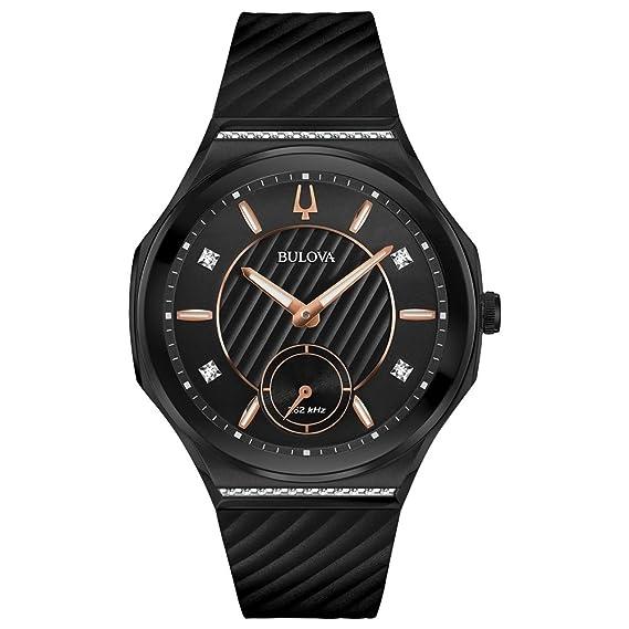 Bulova Curv Reloj de mujer diamante cuarzo 40.5mm correa de goma 98R240: Amazon.es: Relojes