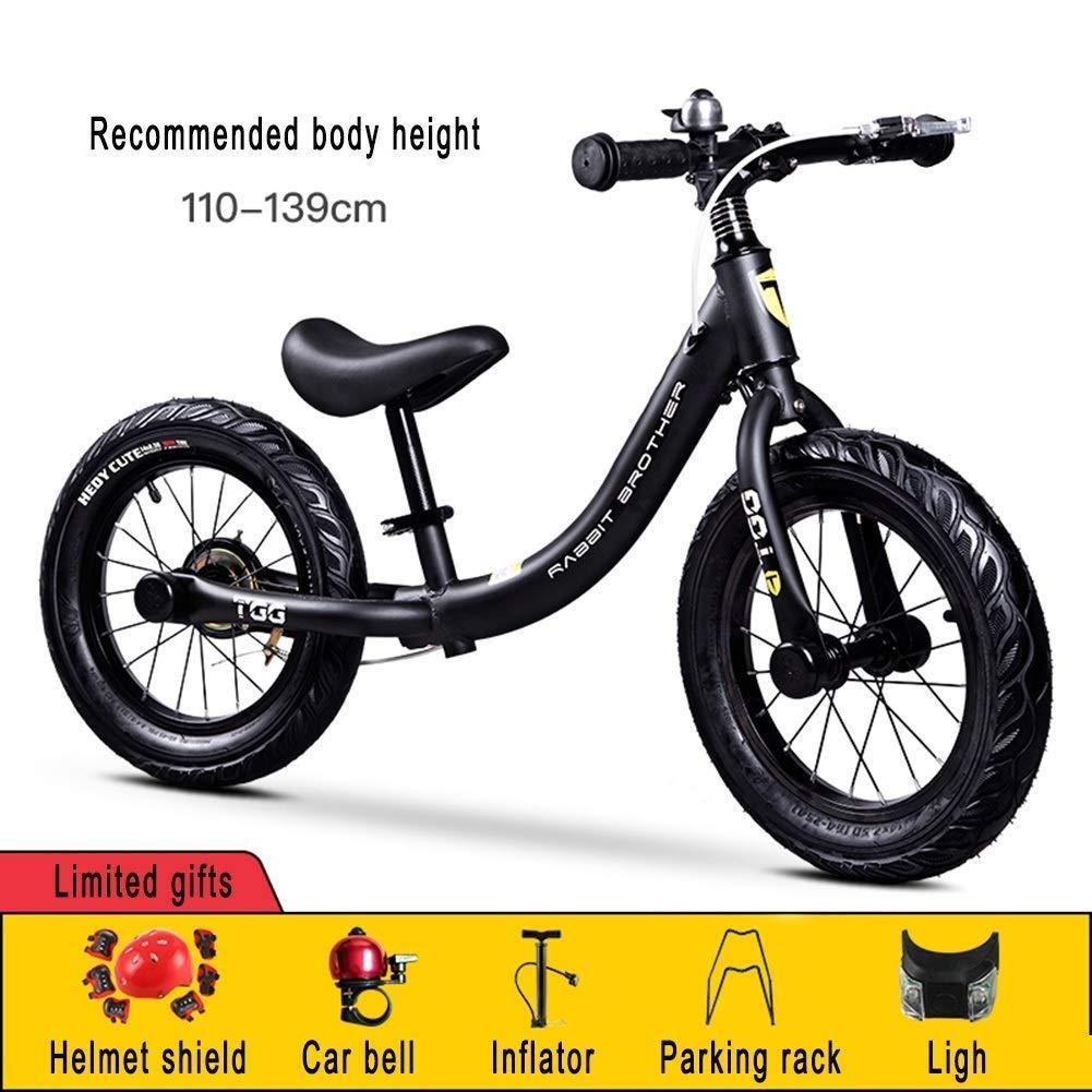 バランスバイク、ランニングバイク、トレーニングバイクペダルなし - 4、5、6、7、8歳の14インチインフレータブルタイヤ、ハンドブレーキ、ペダルデザイン、ブラック ZHAOFENGMING (Color : Black, Size : As shown) B07TC61SNG Black As shown