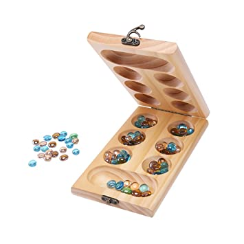 Mancala Board Game Kalaha Wood Folding Playmaty Kids Strategy Tsum Delectable Game With Stones And Wooden Board
