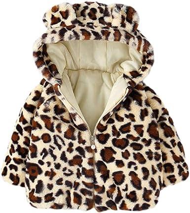 New Winter Infant Baby Girls Warm Hooded Coat Leopard Warm Outerwea Kids Jacket