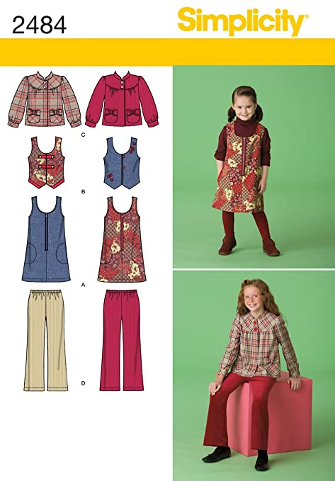 c0976ba3c2d478 Simplicity HH 3-4-5-6 Sewing Pattern 2484 Child Girl Seperates ...
