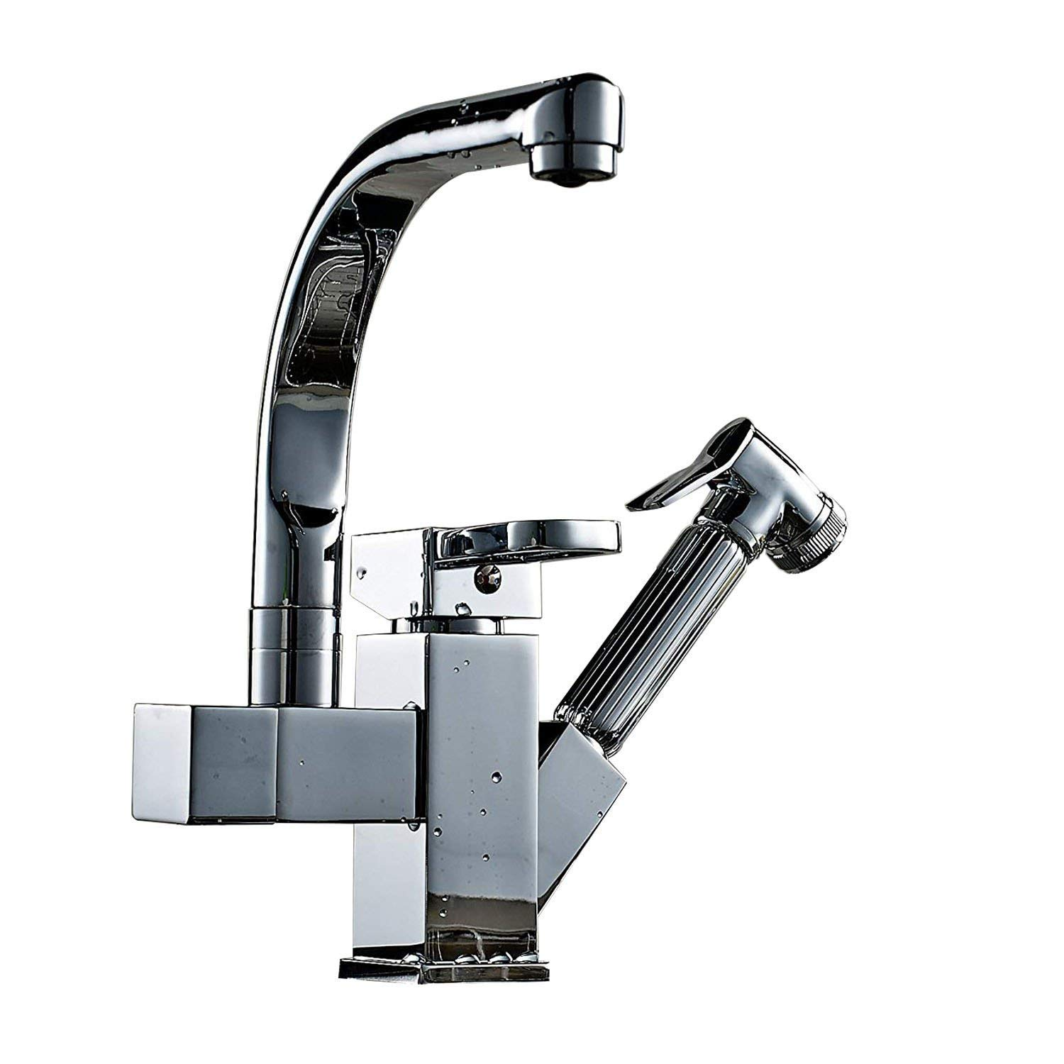 INCHANT Commercial Single Hole Single Handle Swivel Spout Pull Down Pull Out Sink Kitchen Mixer Tap, Polished Chrome Two Functions Mixer Tap Kitchen sink Faucet