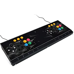 Arcade joystick Machine 2 players Video Game arcade stick for home Compatible with NEOGEO Mini/PC/PS Classic/Nintendo Switch/PS3/Android/Raspberry Pi (Black color )