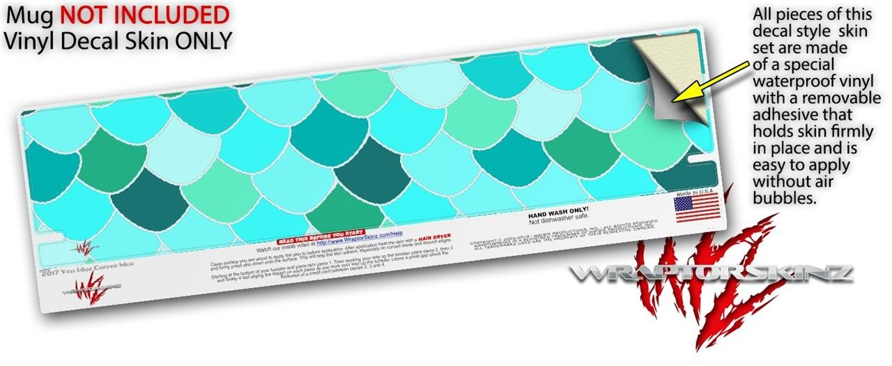 Amazon.com : Skin Decal Wrap for Yeti Coffee Mug 14oz Scales Blue Green - 14 oz CUP NOT INCLUDED by WraptorSkinz : Everything Else