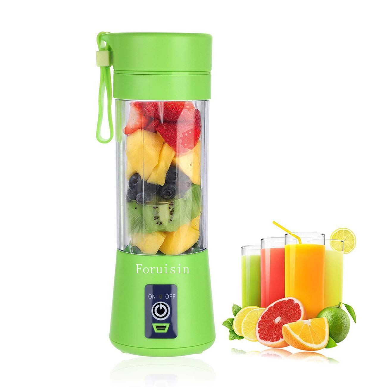 Portable Personal Blender, Household Juicer fruit shake Mixer -Six Blades, 380ml Baby cooking machine with USB Charger Cable (Green)