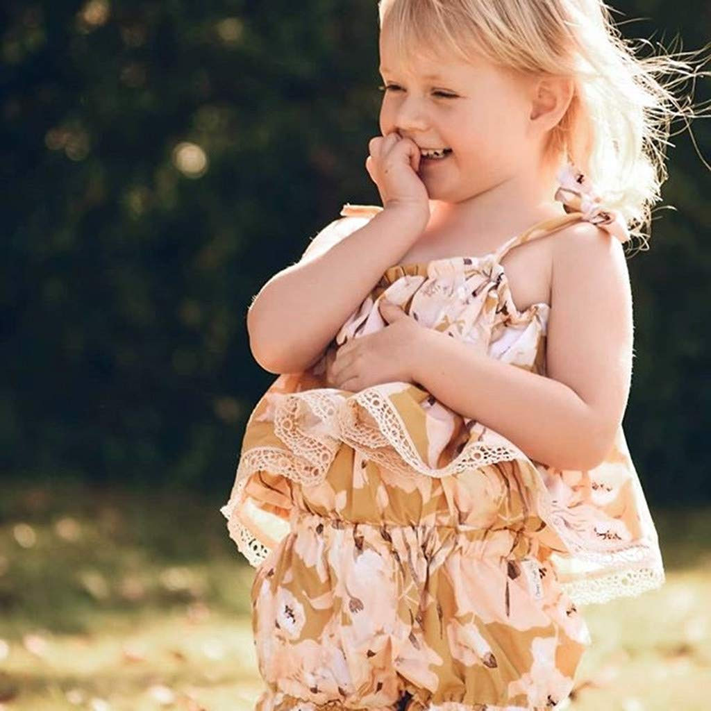 Baby Bodysuit Girl Newborn,Toddler Baby Girl Sleeveless Floral Print Lace Vest Tops+Shorts Clothes Outfits,Baby Boys Bodysuits,Beige,120