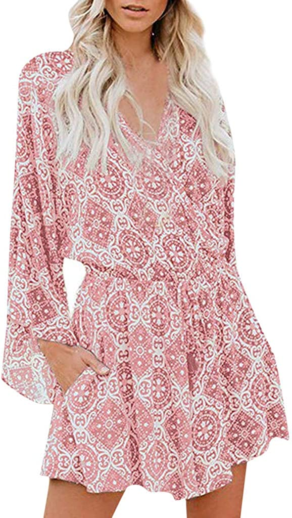 STORTO Womens Summer Jumpsuit Ladies Causal Long Sleeve V Neck Boho Rompers Playsuit Holiday Mini Jumpsuit Bodysuits: Clothing