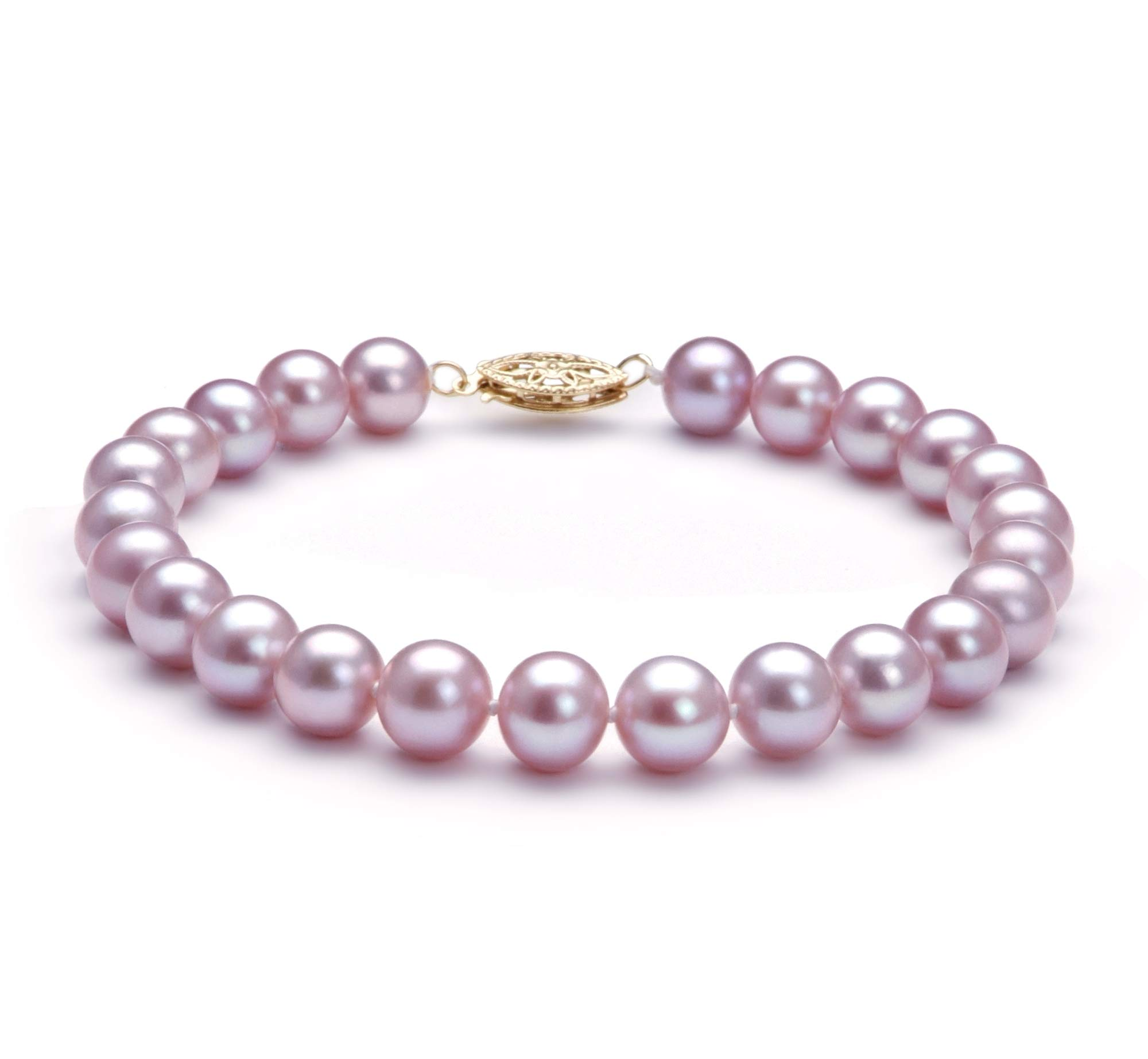 Lavender 7-8mm AA Quality Freshwater Cultured Pearl Bracelet for Women-7 in Length