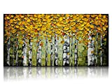 Desihum-3D Modern Yellow Birch Forest Wall Art For Living Room 100% Hand-Painted Yellow Leaves Green Pictures Stretched And Framed Artwork Canvas Home Decor (24''x48'')