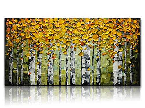 Desihum-Handmade Art 3D Modern Oil Paintings On Canvas Elegant Yellow Leaves Birch Forest Pictures Abstract Artwork Ready to Hang Long Framed Wall Art For Living Room Bedroom Dinning Room (20