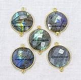 Devgemsandjewels Natural Labradorite Round 19 mm 24k Gold Plated Double Bail Faceted Bezel Charm Connector 50 pcs.