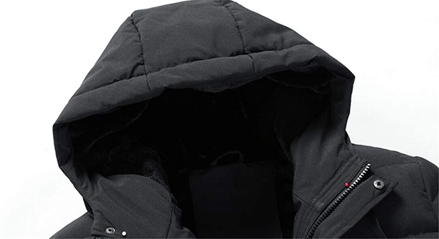 Spirio Mens Quilted Hooded Zip-Up Stand Collar Outdoor Winter Long Down Jacket
