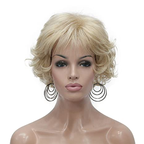 Lydell Peluca corta suave rizos marrón Highlights pelucas sintéticas completas