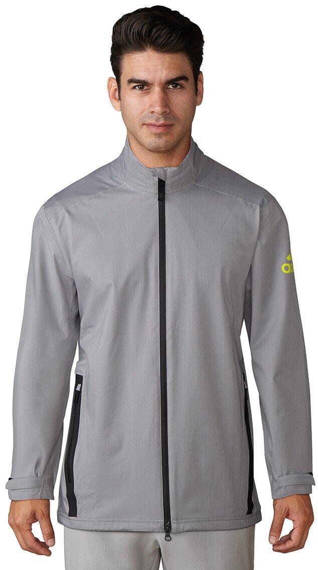 adidas Golf Men's Climaproof Heather Rain Jacket, Mid Grey/Vista Grey/Solar Yellow, XX-Large