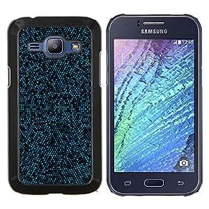 EJOOY---Cubierta de la caja de protección para la piel dura ** Samsung Galaxy J1 J100 ** --Modelo azul y Negro Mosaic
